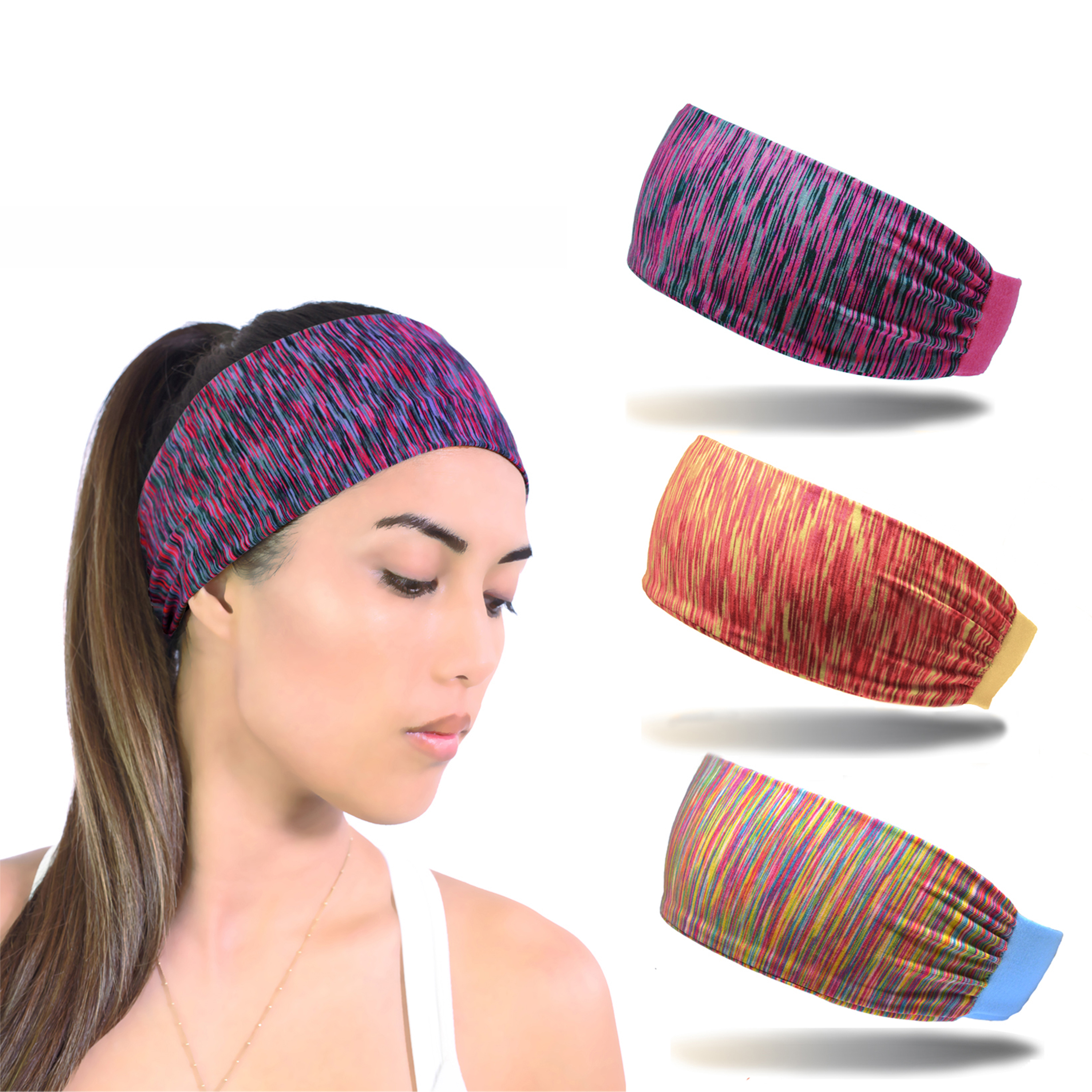 Beaute Galleria - Bundle 3pcs Moisture Wicking Wide Non-Slip Elastic, Sport Headband Sweatband Hair Band, Perfect For Running Gym Yoga Workout, Soft Comfortable, Fits all Women & Men