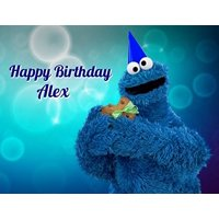 Sesame Street Cookie Monster Edible Image Photo Cake Topper Sheet Personalized Custom Customized Birthday - 1/4 Sheet - 78073