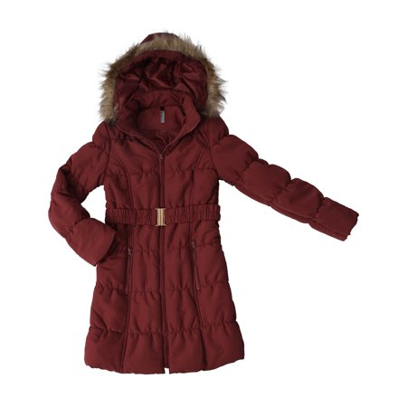 Ma Croix Womens Belted Quilted Puffer Coat Detachable Fur Hoodie Lightweight Faux Fur Winter Jacket