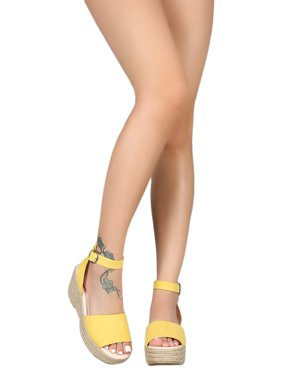 1db67a5fd0ab Product Image Women Wide Band Open Toe Espadrille Platform Wedge 18388