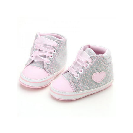Nicesee Newborn Baby Girls Laces High-Top Ankle Sneakers Soft Sole Crib Shoes Converse High Tops Girls