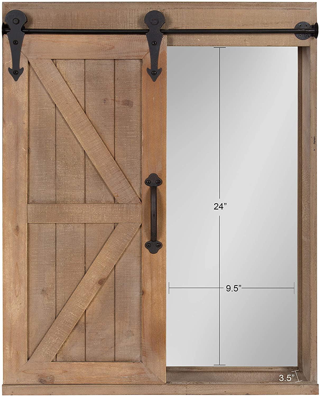 Cates Wood Wall Storage Cabinet With Vanity Mirror And Sliding Barn Door Rustic Brown Walmart Com Walmart Com