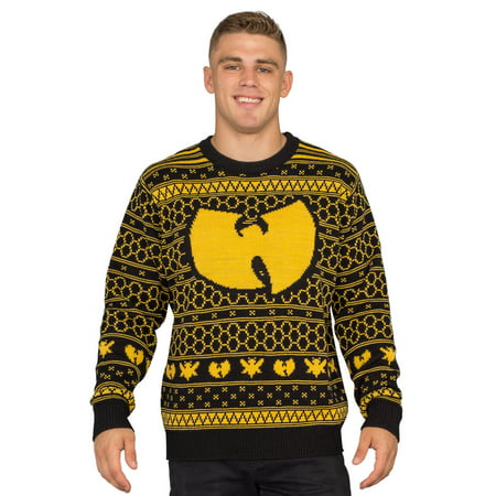 Wu Tang Clan Killer Bees Adult Black and Yellow Ugly Christmas Sweater - Adult Ugly Christmas Sweater
