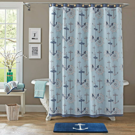 Better homes and gardens nautical shower curtain for Better homes and gardens shower curtains