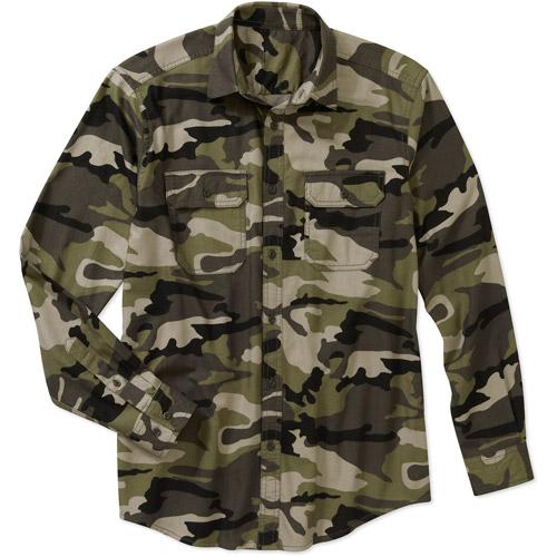 Faded Glory Men's Long Sleeve Flannel 2 Pocket Shirt