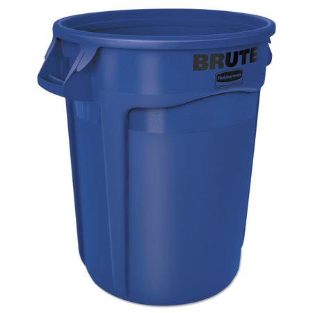 Rubbermaid Commercial Round Brute Container, Plastic, 32 gal, Blue