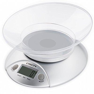 Etekcity Digital Food Scale and Multifunction Kitchen Weight Scale with Removable Bowl, 11 lb