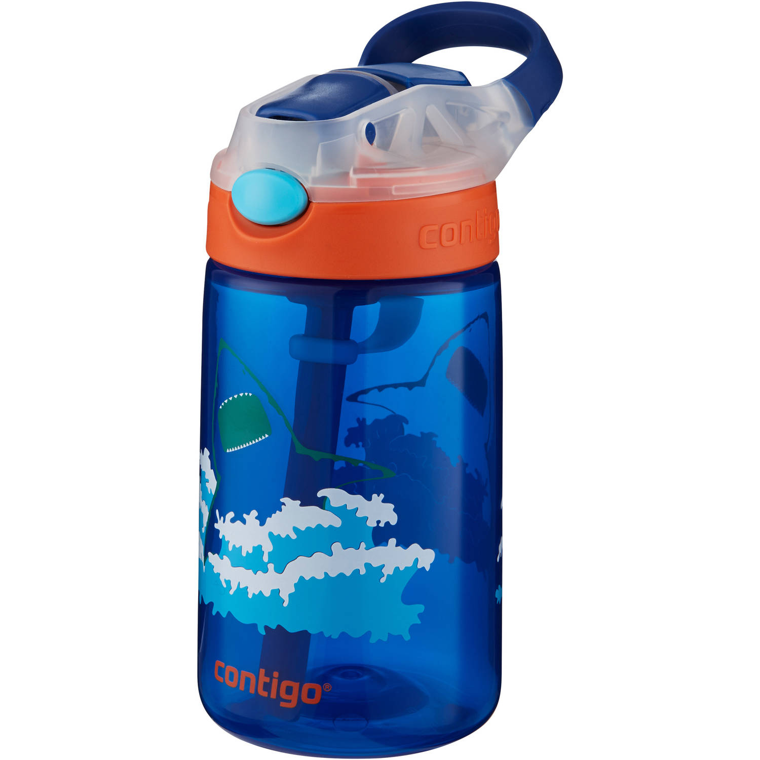 Contigo Gizmo Flip 14 Oz Kids Water Bottle, Shark Graphics
