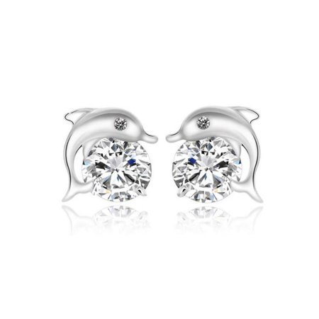 1 Pair Lovely Crystal Eye Dolphin CZ Stud Earrings Women's 925 Sterling Silver Jewelry - Clearance ()