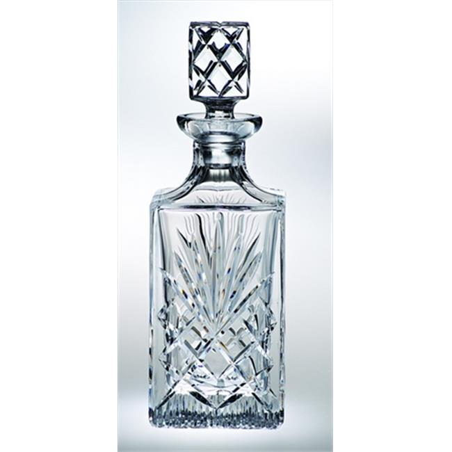 26oz Hand Cut Crystal Whiskey Decanter, M, Square Majestic
