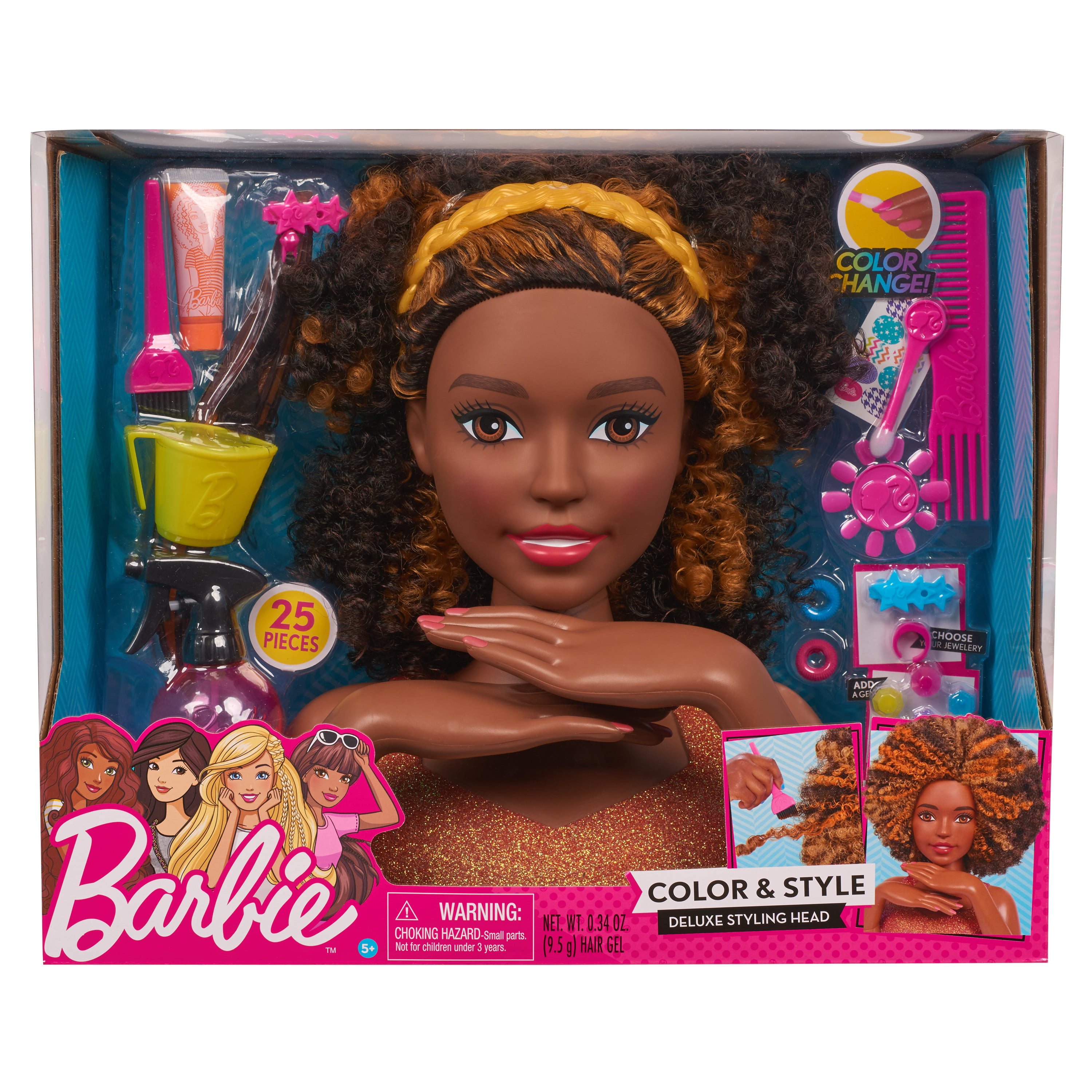 Barbie Color Style Deluxe Styling Head Curly Hair Walmart Com Walmart Com