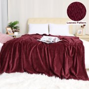 "Soft Flannel Fleece Blanket Sofa Throw Blanket Burgundy 78"" x 90"""