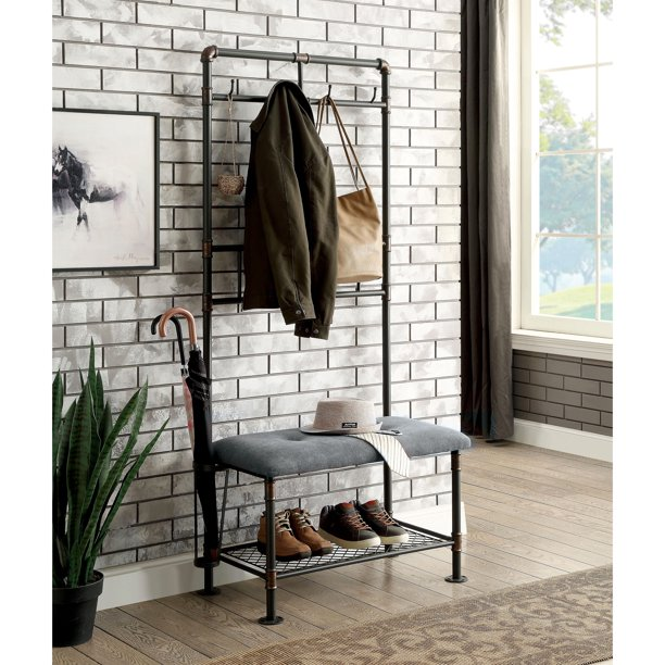 Furniture of America Revo Industrial Sand Black 34-inch Coat Rack