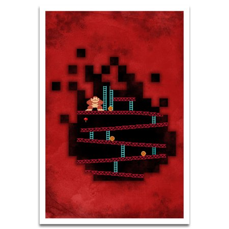Visionary Prints 'Nostalgic Arcade Game' | Gamer Wall Art - Red and Black | Modern Contemporary Poster Print, 13x19 inch 13x19 Inch 25 Sheets