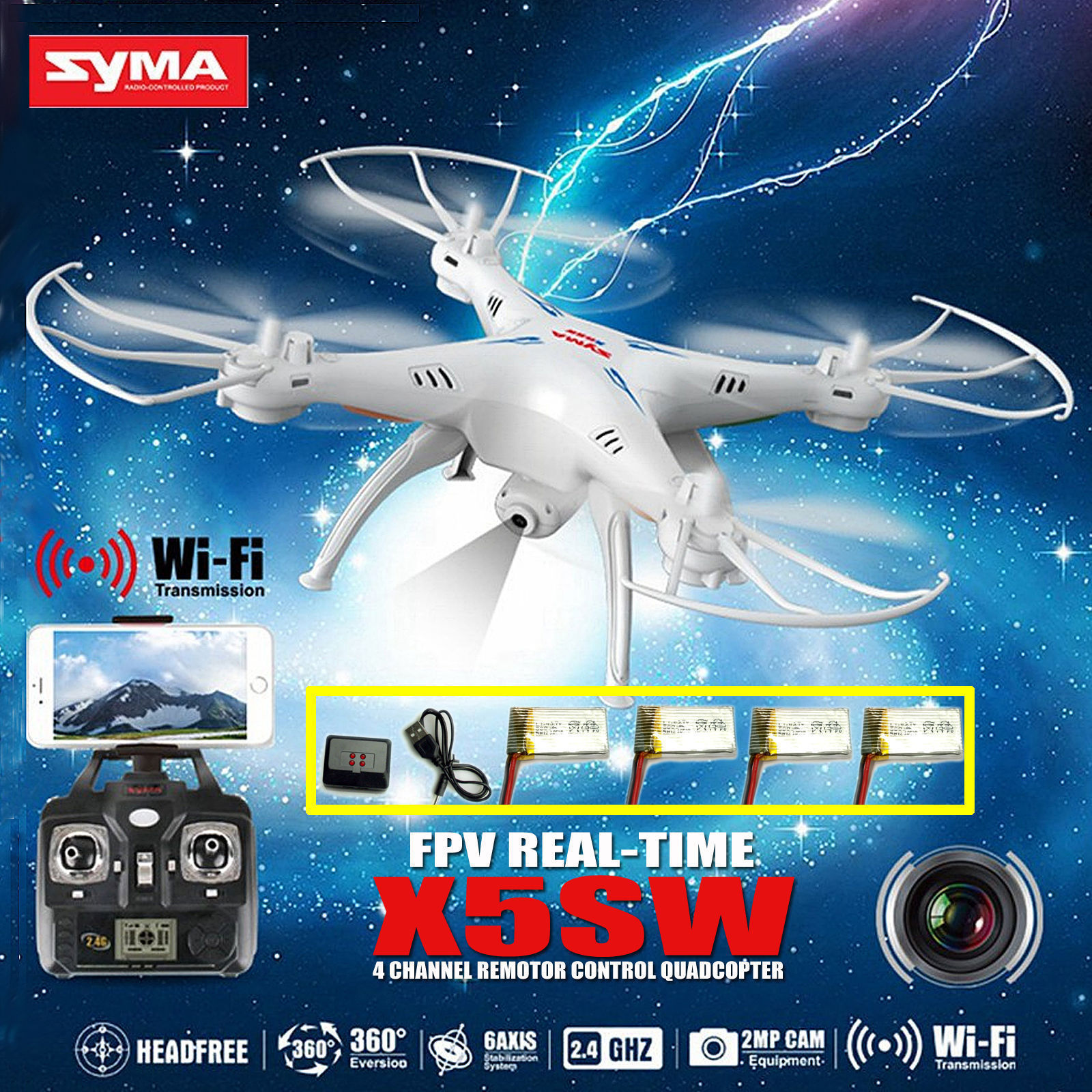Cheerwing 4 Batteries Syma X5SW FPV Explorers2 2.4Ghz 4CH 6-Axis Gyro RC Headless Quadcopter Drone UFO with 0.3MP HD Wifi Camera (White + 4 Batteries)
