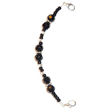 Hidden Hollow Beads Black women's Medical Alert ID Interchangeable Replacement Bracelet ()