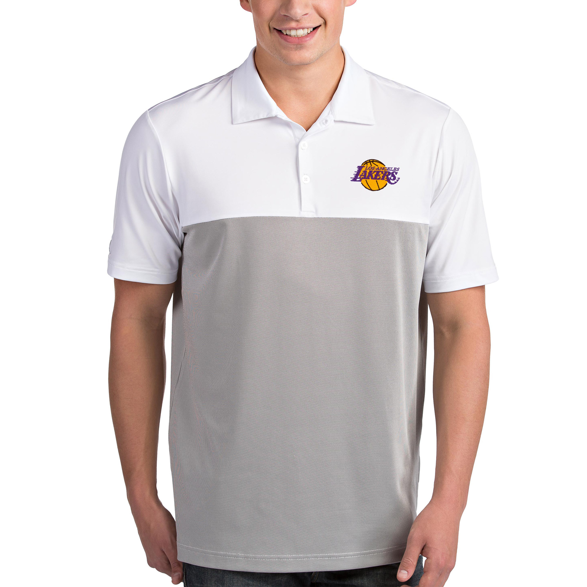Los Angeles Lakers Antigua Venture Polo - White/Gray
