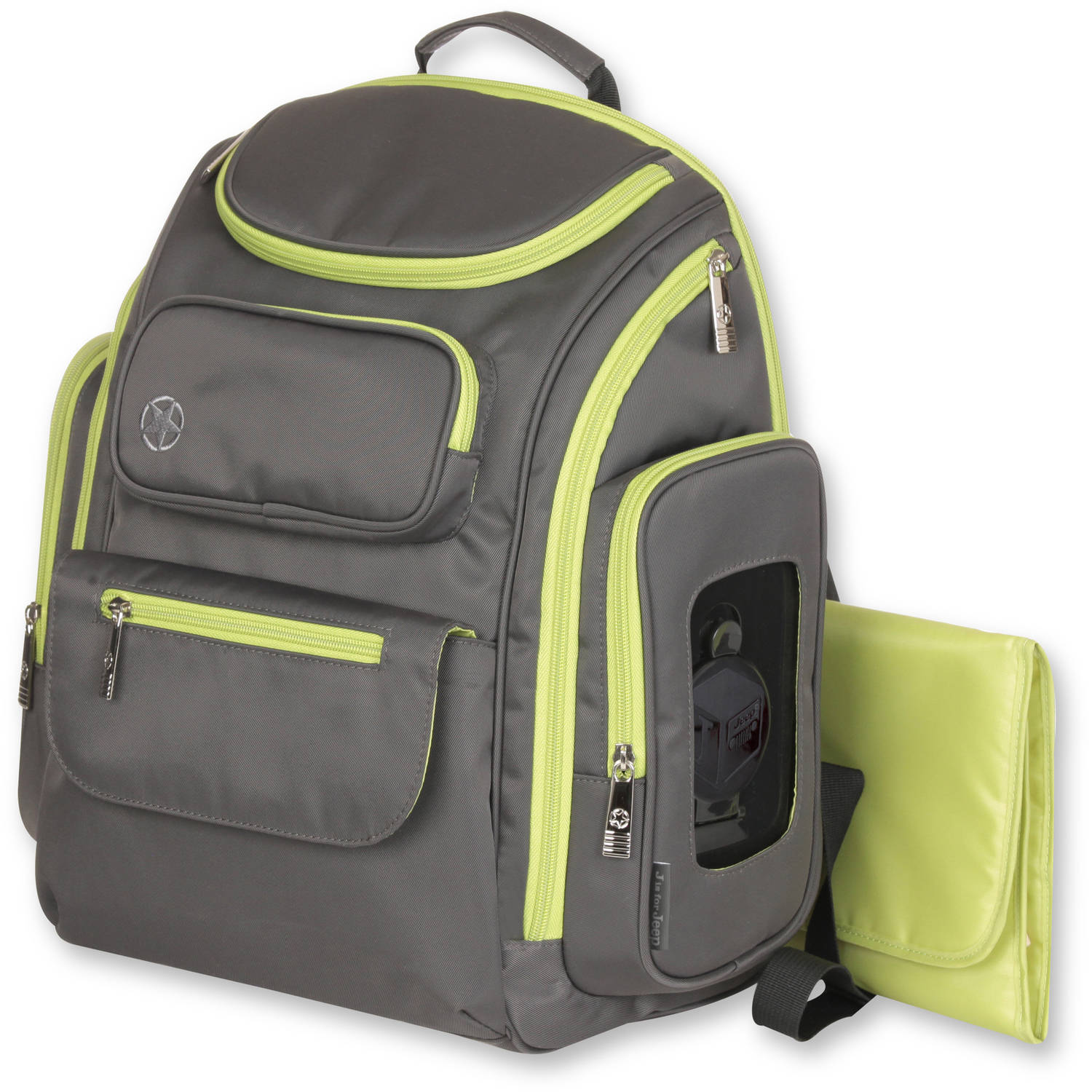 J is for Jeep Perfect Pockets Backpack Diaper Bag, Grey/Green