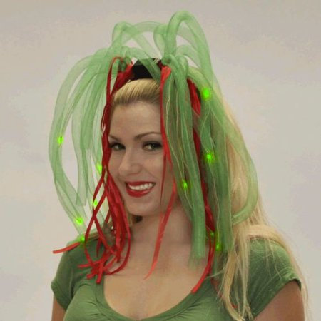 Red and Green LED Noodle Headband Flashing Dreads
