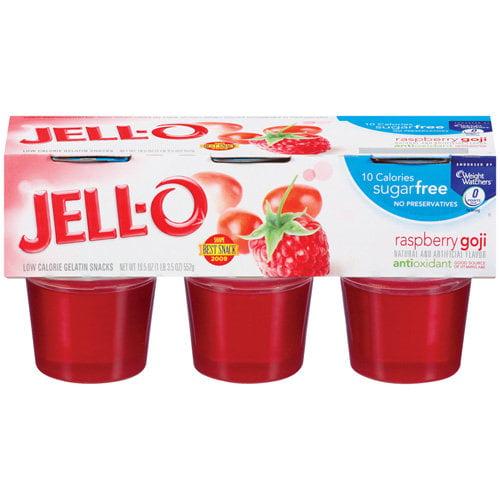 Jell-O Ready To Eat: Gelatin Snacks Low Calorie Sugar Free Raspberry Goji w/Antioxidants, 6 Ct