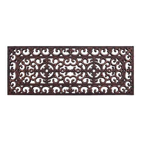 - A1HC First Impression Rubber Iron 18 In. X 48 In. Copper Finished Elegant Large Double Doormat
