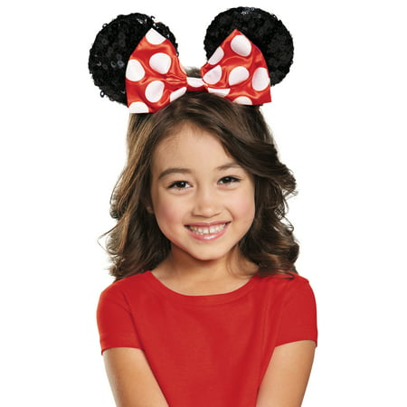 Red Minnie Mouse Child Sequin Ears Halloween Costume Accessory - Adult Mouse Ears