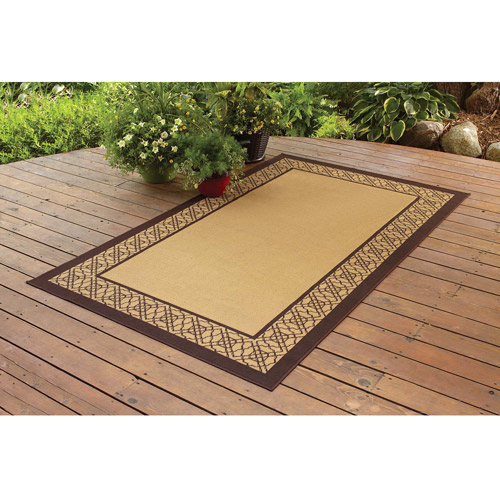 Better Homes And Gardens Indoor/Outdoor Bamboo Border Polyester Area Rug,  Straw