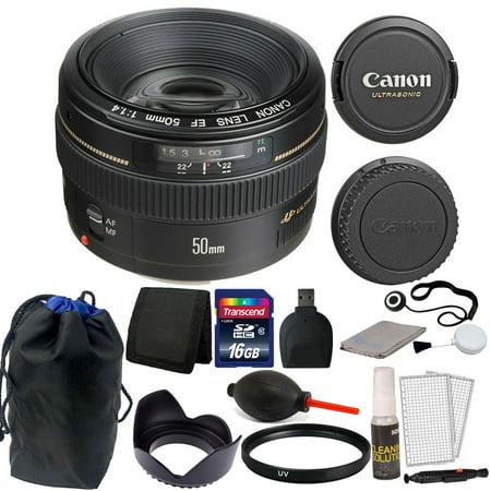 Canon EF 50mm f/1.4 USM Autofocus Lens + 16GB Accessories for T2i T3i C100 XTI (50mm Canon Lens T3i)
