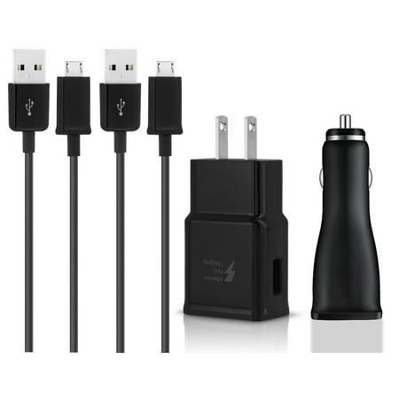 OEM Quick Fast USB Car + Wall Charger + 2 USB Cable Compatible with BLU Studio C HD Phones - True Digital Adaptive Fast Charging - Black - image 9 of 9
