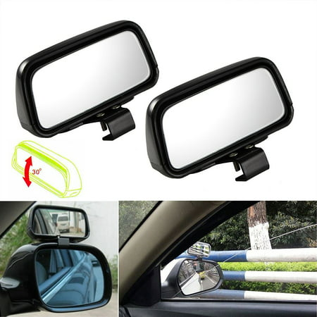 Xotic Tech Blind Spot Mirror, 2 Pieces Black Rectangle Wide Adjustable Angle Convex Clip On Half Oval Rear View Conter Blind Spot Angle Auxiliary Mirrors For Car Truck SUVs