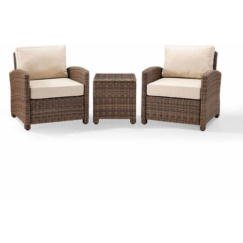 Crosley Furniture Bradenton 3-Piece Outdoor Wicker Conversation Set with Navy Cushions Two... by Wicker Furniture