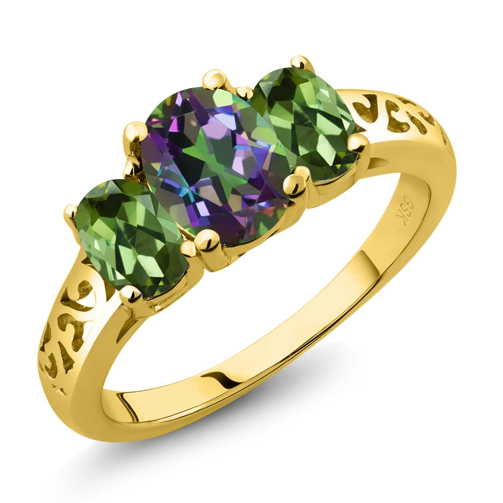 2.30 Ct Oval Green Mystic Topaz Green Tourmaline 18K Yellow Gold 3-Stone Ring by