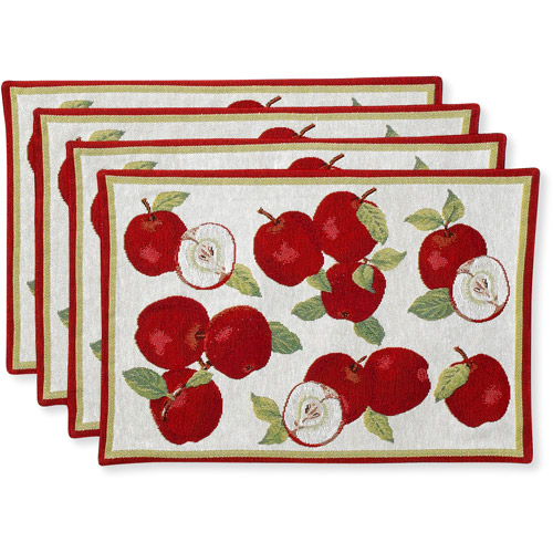 Better Homes and Gardens Placemats, Set of 4, Apple Tapestry