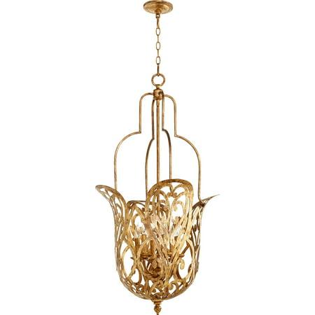 Pendants 6 Light With Vintage Gold Leaf Finish Candelabra Base Bulbs 21 inch 360 Watts 6 Light Gold Leaf