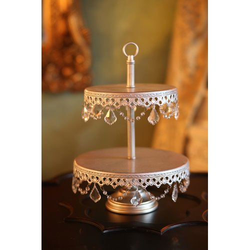 Opulent Treasures 2 Tier Chandelier Dessert Plate Tiered Stand