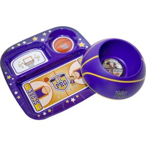 Remarkabowl - Lil Pro Dish Set - Basketball - Purple - Purple and Yellow Basketball Sports Themed Plate and Bowl Set - Texture and Feel of Actual Ball - Make Eating Fun - Promote an Active Lifest