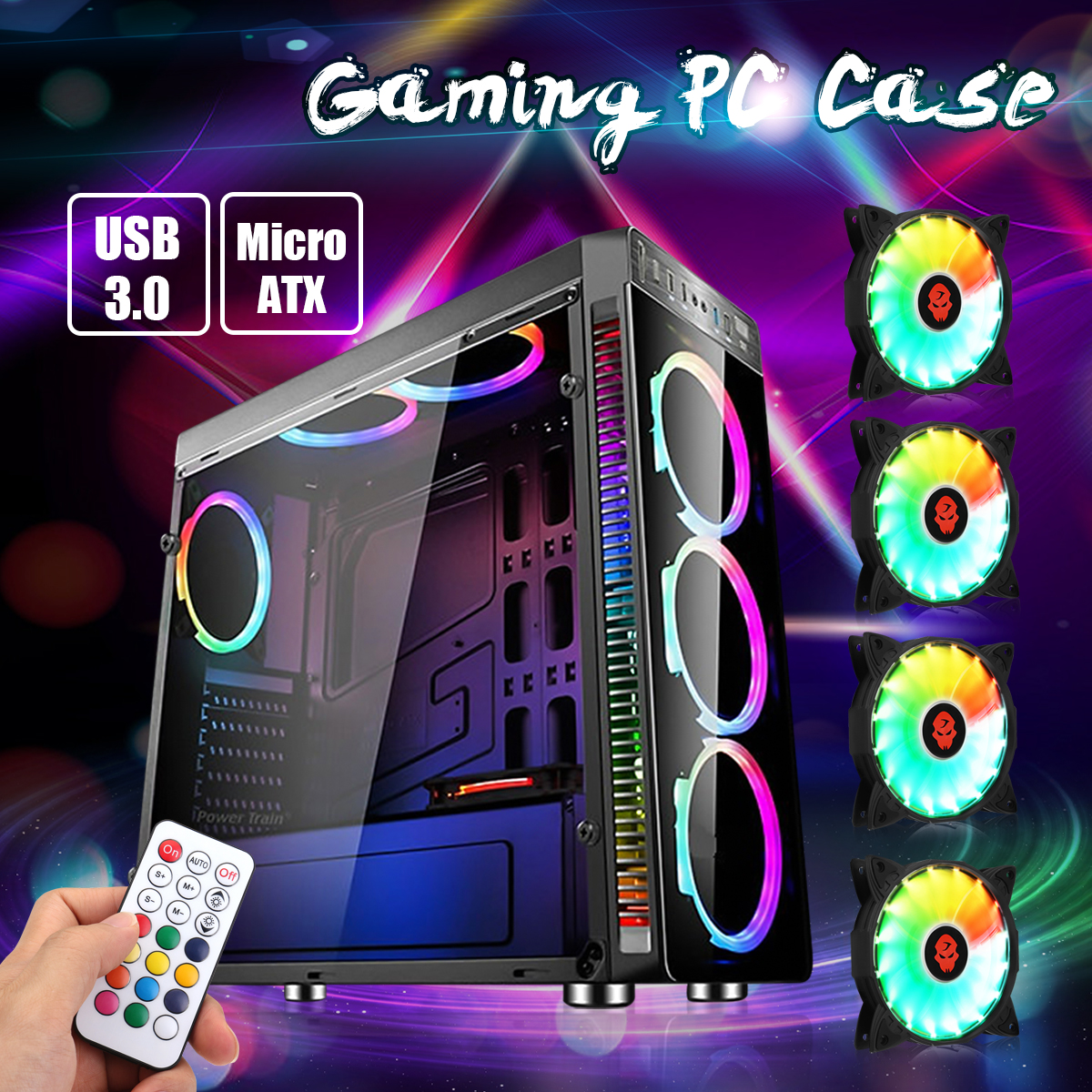 ATX Full Tower Chassis Gaming Computer PC Case USB 3.0 Ports with 4Pcs RGB Cooling Fans & Remote Control, Support Micro ATX, ATX Motherboard