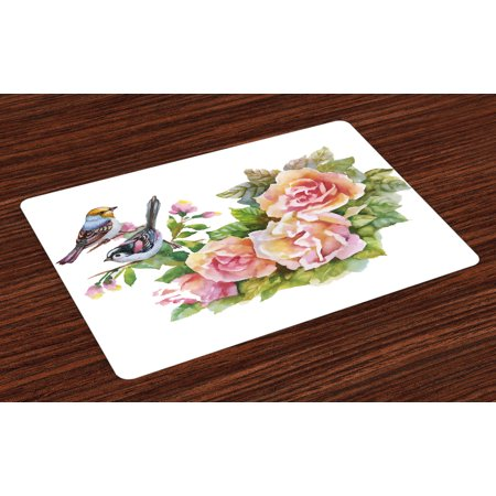 Watercolor Placemats Set of 4 Wild Exotic Birds Roses Spring Season Flowers Leaves Buds Painting Artwork Image, Washable Fabric Place Mats for Dining Room Kitchen Table Decor,Multicolor, by Ambesonne