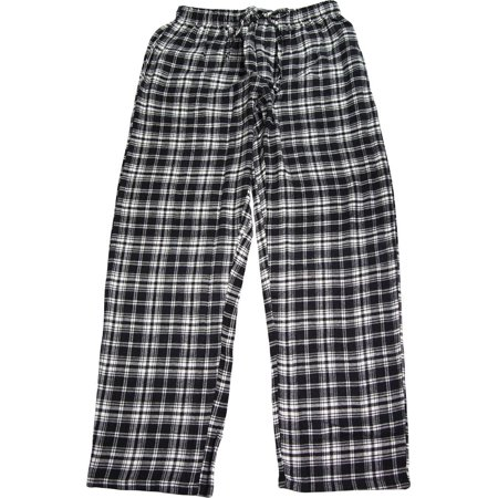Plaid Flannel Pajama Top - NORTY Mens Pajama Sleep Lounge Pant - 100% Brushed Cotton Flannel - 8 Prints, 40769 Black-White Plaid / X-Large