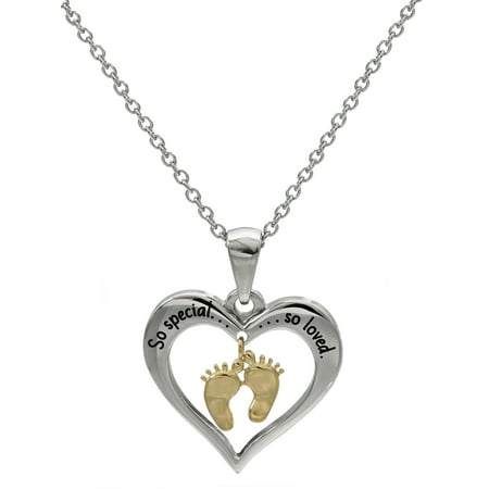 Stainless Steel Heart So special, so loved Baby Footprints Pendant, (Special Mom Pendant)