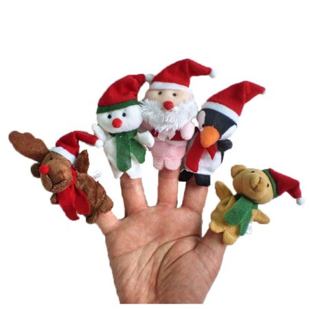 5pc Story Time Christmas Santa Claus and Friends Finger Puppets Toy - Halloween Finger Puppets Printables