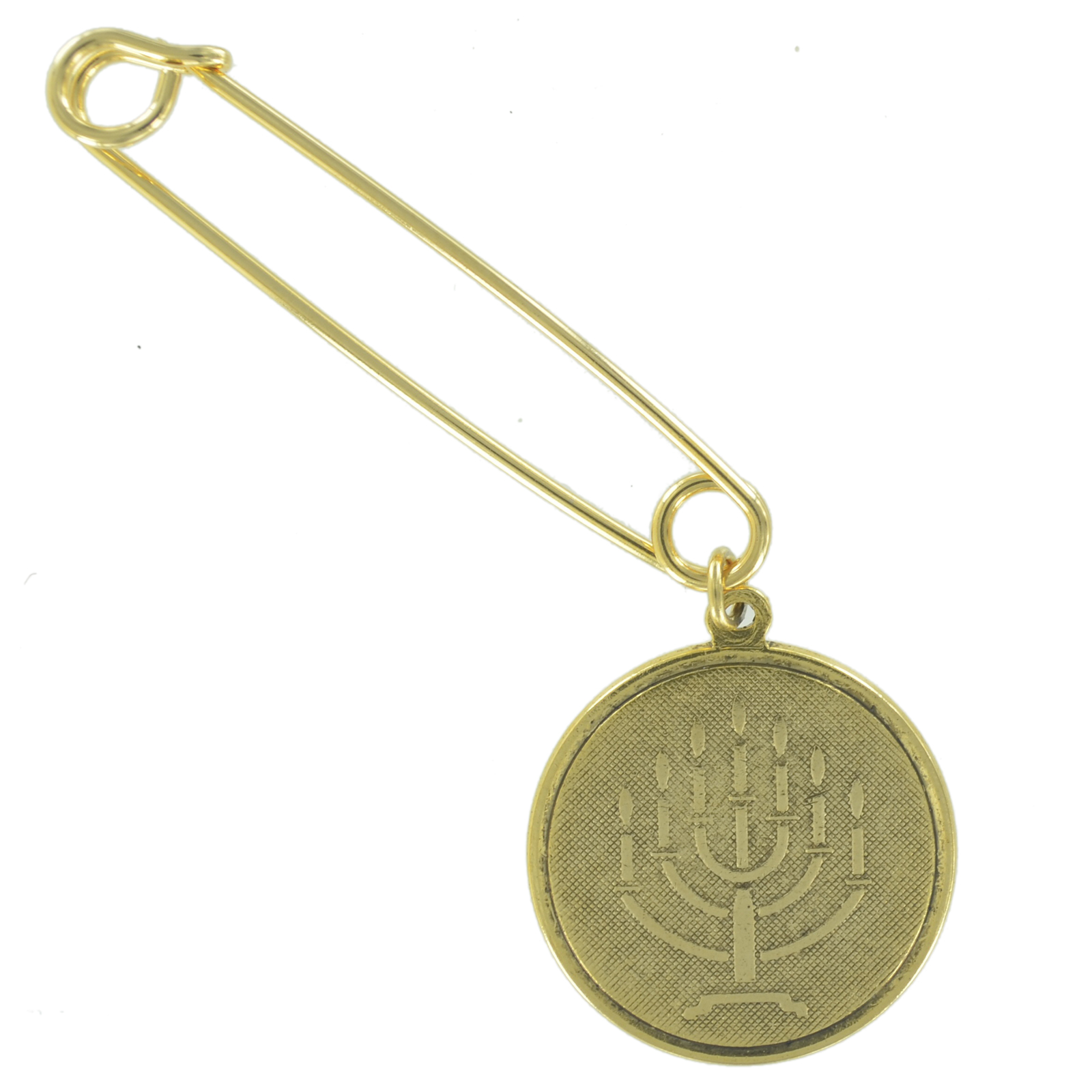 "Safety Pin Brooch 2"" Gold Tone Jewish Hebrew Menorah Symbol Charm Dangle End by Ky & Co"