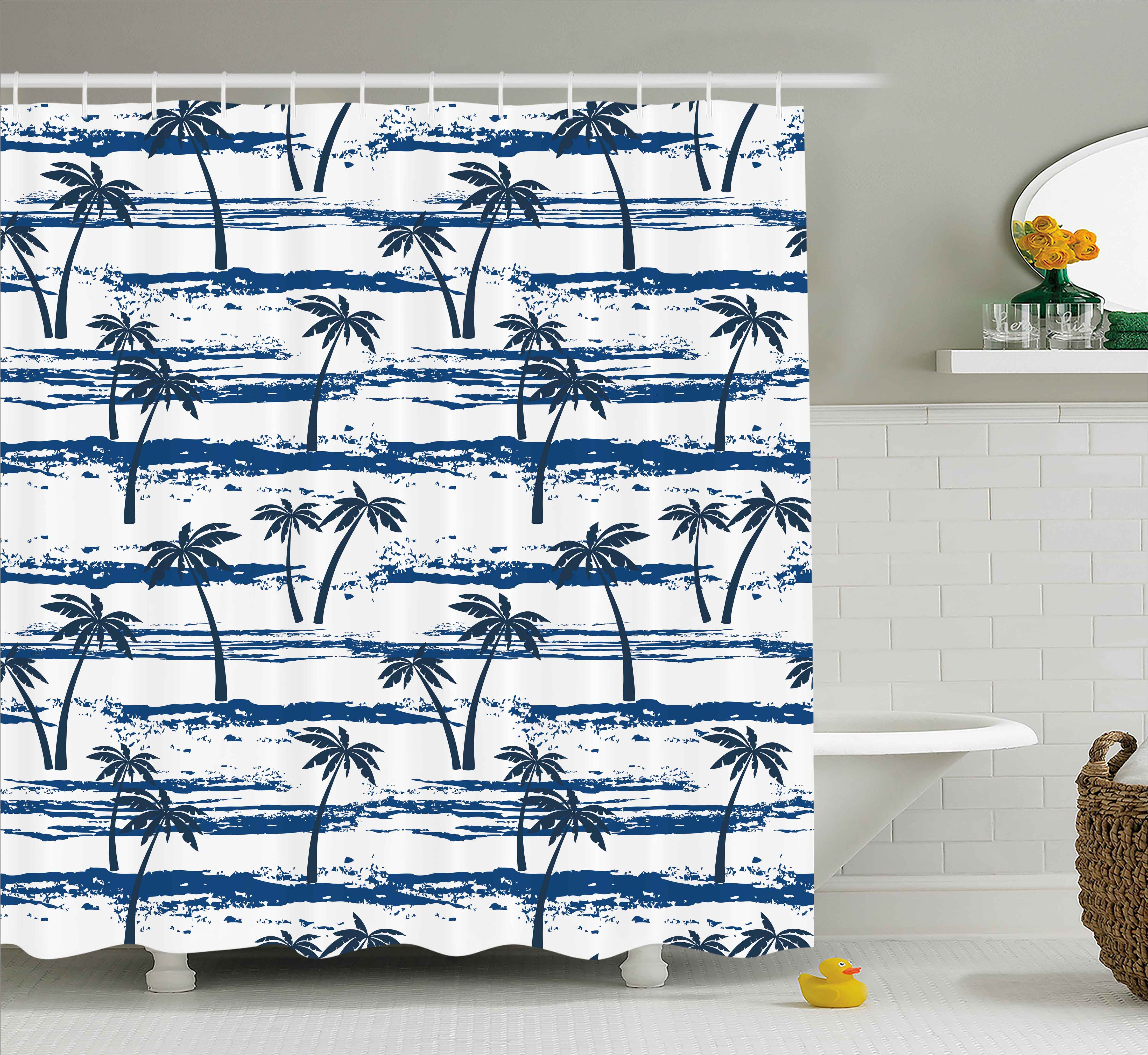 Tropical Shower Curtain Set, Pattern with Sea and Palm Tr...