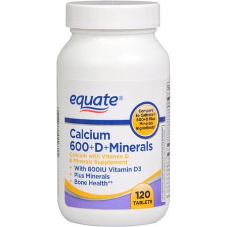 Equate 600+D Calcium Supplement With Vitamin D & Minerals, 120ct