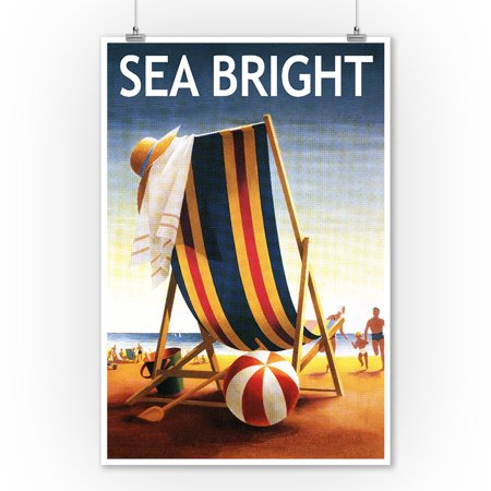Sea Bright, New Jersey - Beach Chair and Ball - Lantern Press Poster (9x12 Art Print, Wall Decor Travel Poster)
