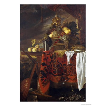 A Basket of Mixed Fruit with Gilt Cup, Silver Chalice, Nautilus, Glass and Peaches on a Plate Print Wall Art By Jan Davidsz. de (Silverplate Art)