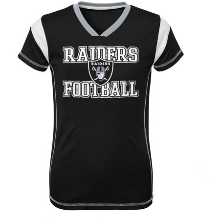 Girls Youth Black Oakland Raiders Team V-Neck Jersey