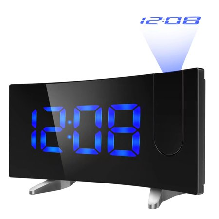 VicTsing Projection Alarm Clock, [Curved-Screen] Projection Clock, Digital FM Clock Radio with Dual Alarms, 5