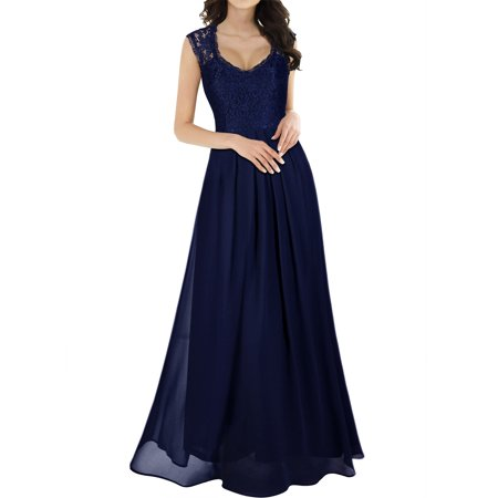 MIUSOL Women's Casual Deep V Neck Sleeveless Vintage Chiffon Maxi Dresses for Women (Navy Blue 3XL)