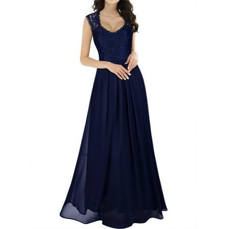 MIUSOL Women's Casual Deep V Neck Sleeveless Vintage Chiffon Maxi Dresses for Women (Navy Blue 3XL)
